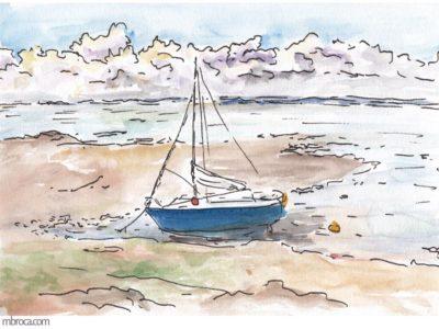 œuvres un bateau échoué à marée basse