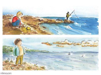 œuvres deux images. une fille qui joue dans le sable avec un pêcheur à la ligne au loin. Un garçon qui regarde la mer.