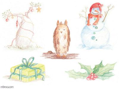 œuvres un bobab avec des guirlandes, un hiboux, un bonhomme de neige, du houx, un cadeau.