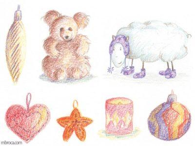 œuvres un ours en peluche, un mouton, une bougie, quatre suspensions.