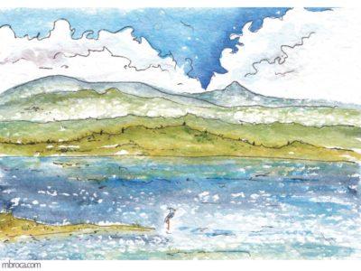 œuvres un étang avec n oiseau et des montagnes en arrière plan.
