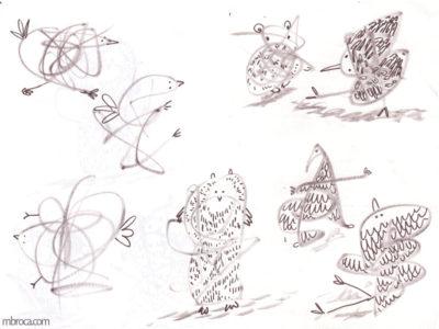 œuvres des animaux réalisés à partir de gribouuillages.