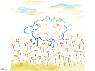 œuvres un mouton bleu dans de l'herbe.