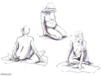 Unefemme nue dans trois positions, visage caché, de dos et pensive.
