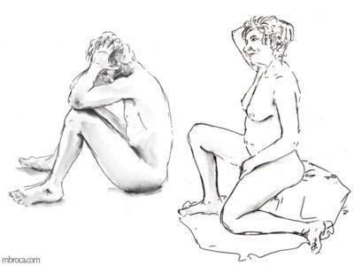 nus, un homme et une femme nus