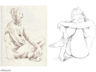 nus, un homme nu assi en tailleur de profil, une feme les bras autour des jambes