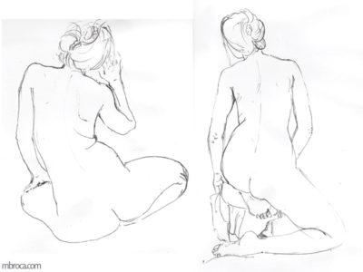 nus, le meme femme nue de dos