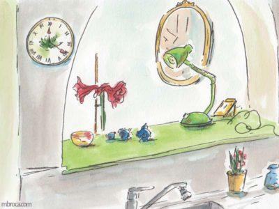 œuvres un intérieur de maison, une pendule, une lampe, un miroir, des céramiques, un évier