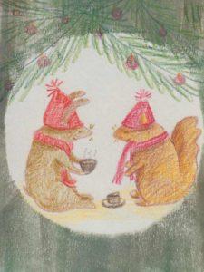 Cartes avec un lapin et un écureuil buvant du thé