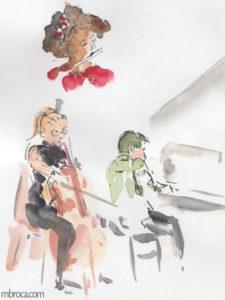 une flutiste, une violoncelliste et un pianiste.