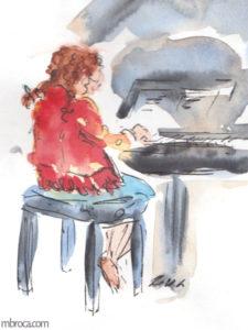 M.Broca, croquis d'une fille en robe rouge qqui joue du piano.