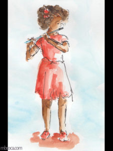 œuvres Une jeune flutiste avec une robe rouge.