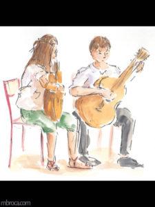 œuvres Une fille et un garçon qui jouent de la guitare