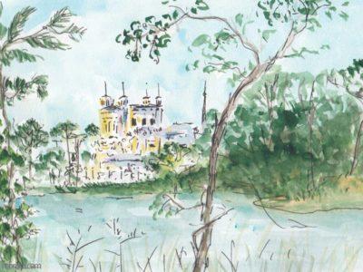 œuvres Une vue sur la basilique de fourière, des arbres autour.