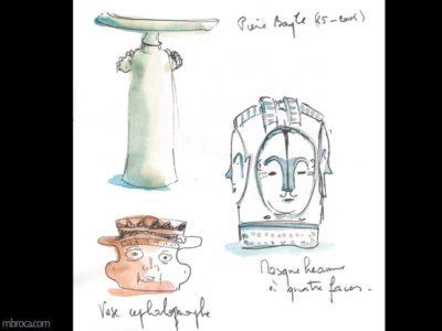 Musées des beaux arts de Lyon : croquis de sculptures en terre.