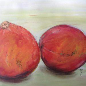 œuvres Deux potimarons oranges sur fond vert.