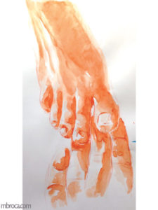 Les doigts de pieds d'un pied droit touchent ceux d'un pied gauche, aquarelle orange.