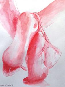 Deux pieds croisés, aquarelle rouge.