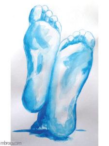 deux plantes de pieds, aquarelle bleue.