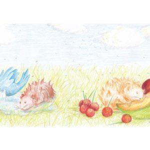 Publications, rouzig. Un cochon d'inde se baigne avec un oiseau, et un autre mange du melon.