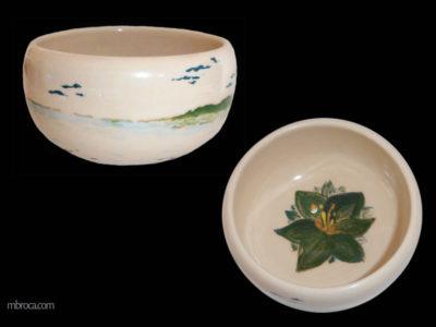 Deux vues d'un bol avec un paysage marin et forêt. Une fleur à l'intérieur.