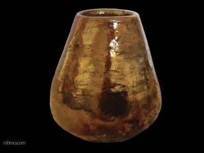 Vase doré en raku