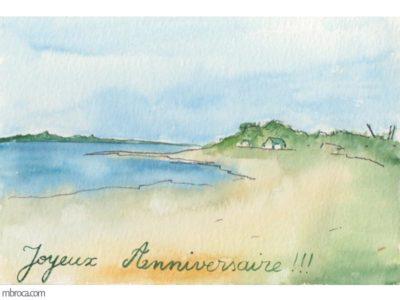 Une carte représentant un paysage breton de bord de mer.