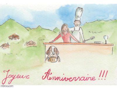 Une carte représentant un couple derrière un comptoir. Un saint Bernard dessiné, et un arrière plan montagneux.