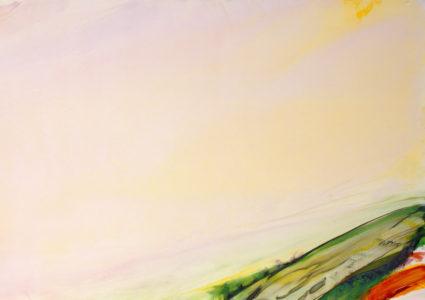 une toile abstraite dans les tons rose- jaune, avec des coulures vertes en bas à droite.s