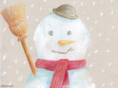 Oeuvre de 2018, calendrier de l'Avent. Un bonhomme de neige avec un balais, une écharpe, un chapeau et une carotte.