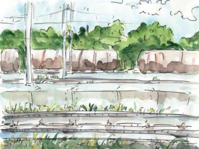 10 œuvres de 2018, La gare de NArbonne, des wagons de marchandise sur des rails
