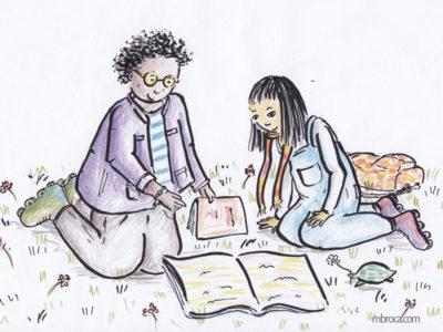 Un garçon et une fille lisent un livre ensemble.