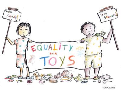 Un garçon et une fille qui manifestent au milieux de leurs jouets pour réclamer l'égalité pour les jouets.