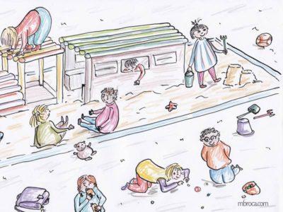 Des enfants jouent dans un grand bac à sable avec une structure en bois.