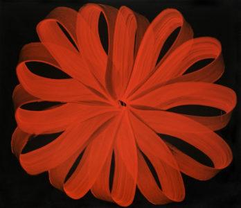 5 expositions 2018, une fleur rouge produite par des lacets de peinture.