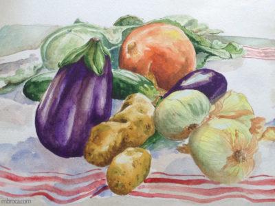Oeuvre de 2018, une nature morte représentant des légumes. Aubergine, pommes de terre, potimaron, oignon, courgette.