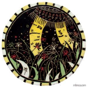 Sgraffite.Illustration de Guêtres de pollen et autres noms indiens. Elle est ronde, deux jambes qui marchent dans l'herbe.