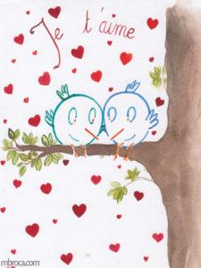Deux oiseaux sur une branche.