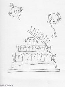 Carte en noir et blanc. Un oiseau sort d'un gateau d'anniversaire.