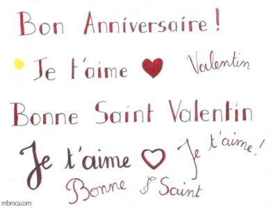 Des textes pour les cartes vendues sur merci facteur : bon anniversaire, je t'aime, bonne saint valentin.