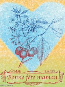 Carte merci facteur bonne fête maman. Un coeur, et une branche de cerisier.
