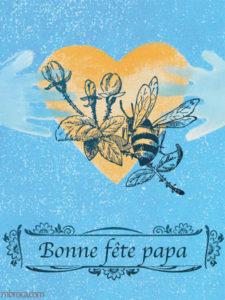 Merci facteur, carte pour la fete des pères, duex mains, un coeur et une abeille.