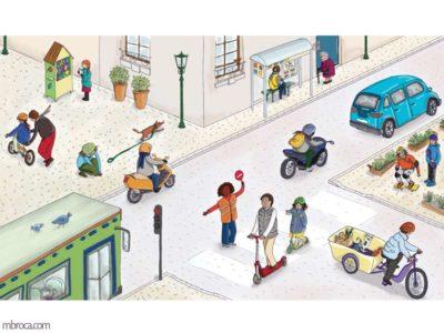 Une planche de vocabulaire avec différentes situation dans un quartier. Un bus, un scouter des vélos, des personnages.