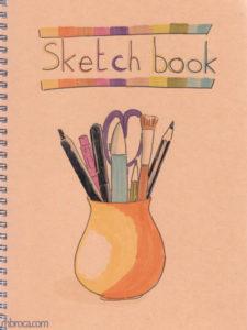 Couverture de carnet, sketchbook. Un pot contenat du matériel pour faire du sketchnoting, crayons, feutres...