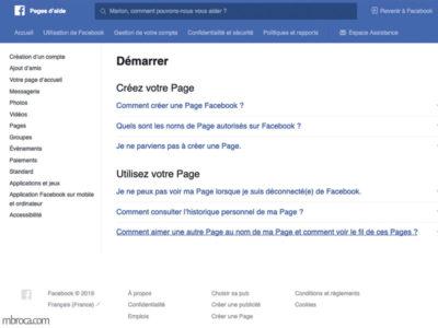 Capture d'écran d'une page d'aide pour les réseaux sociaux.