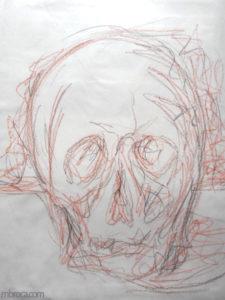 Formation au dessin : un crane vu de face.