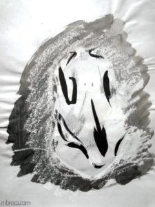Formation au dessin : un crane de sanglier vu de face.