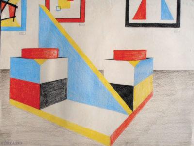 Formation en perspective : des volumes géométriques composent une sculpture, et des tableaux rappelant Malevitch au mur.