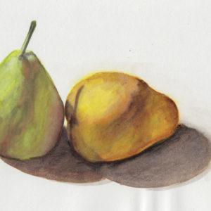 Une poire verte et une poire jaune