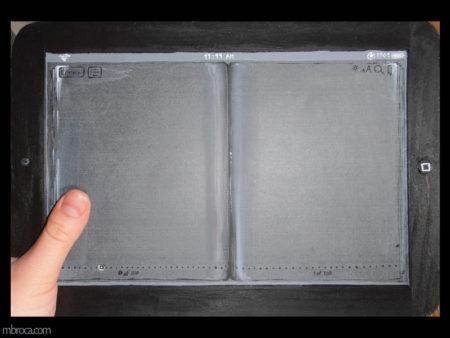 Formation livre d'artiste, une ardoise peinte en trompe l'oeil, transformée en IPAD.